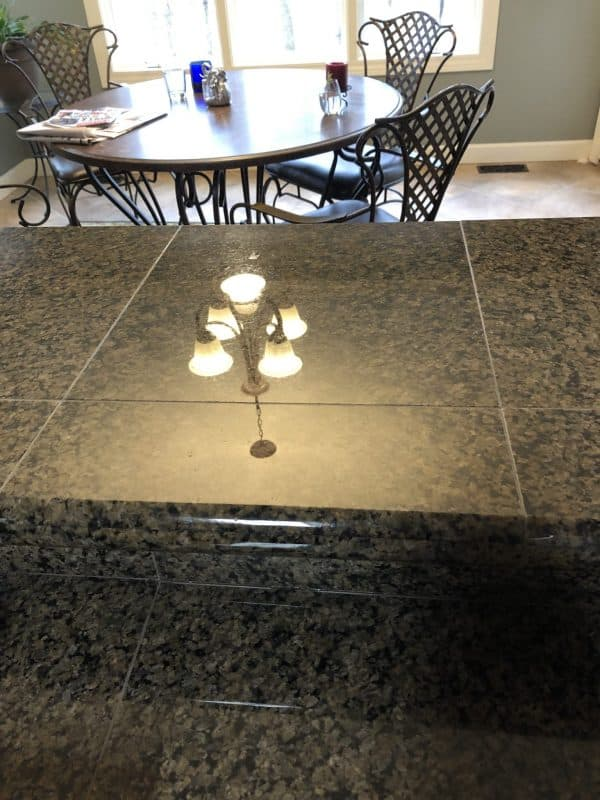 Check the reflection from this granite counter top coated with Simix Multi-Surface Ceramic Coating.